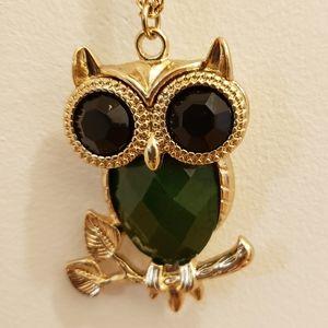 3/$25 Long Golden Plated Owl Pendant